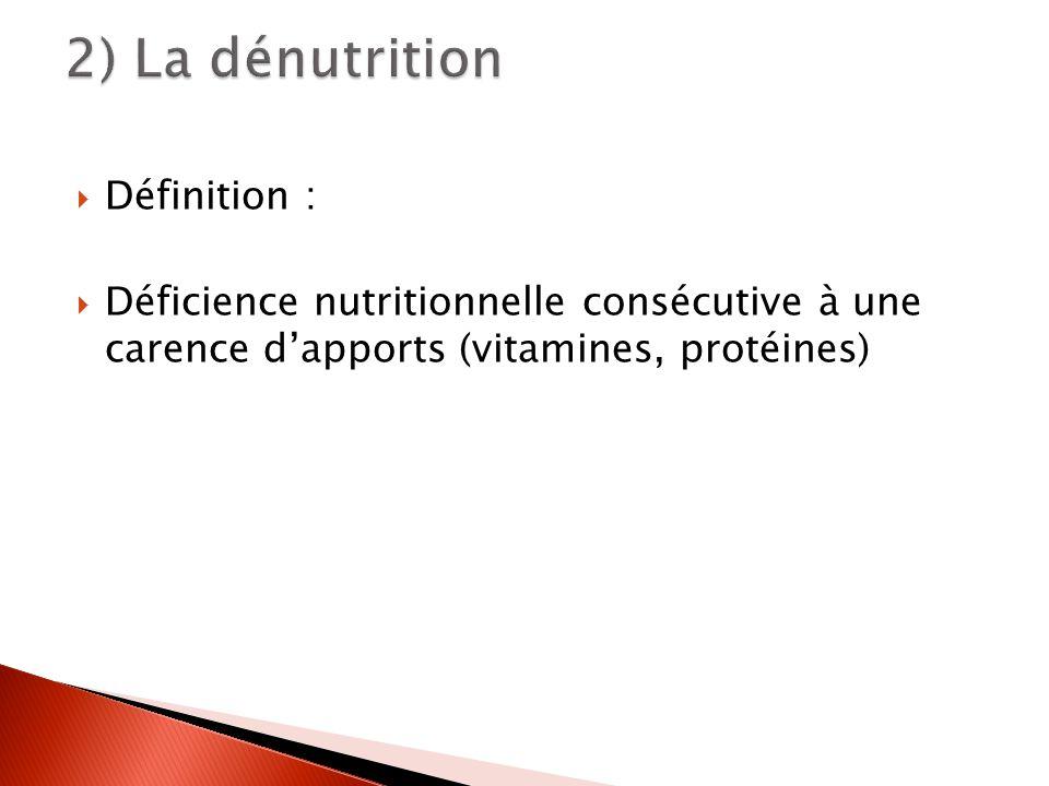2) La dénutrition Définition :