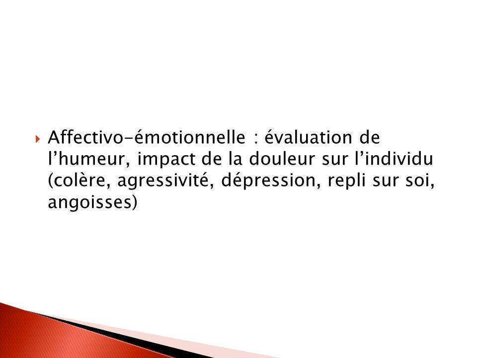 Affectivo-émotionnelle : évaluation de l'humeur, impact de la douleur sur l'individu (colère, agressivité, dépression, repli sur soi, angoisses)