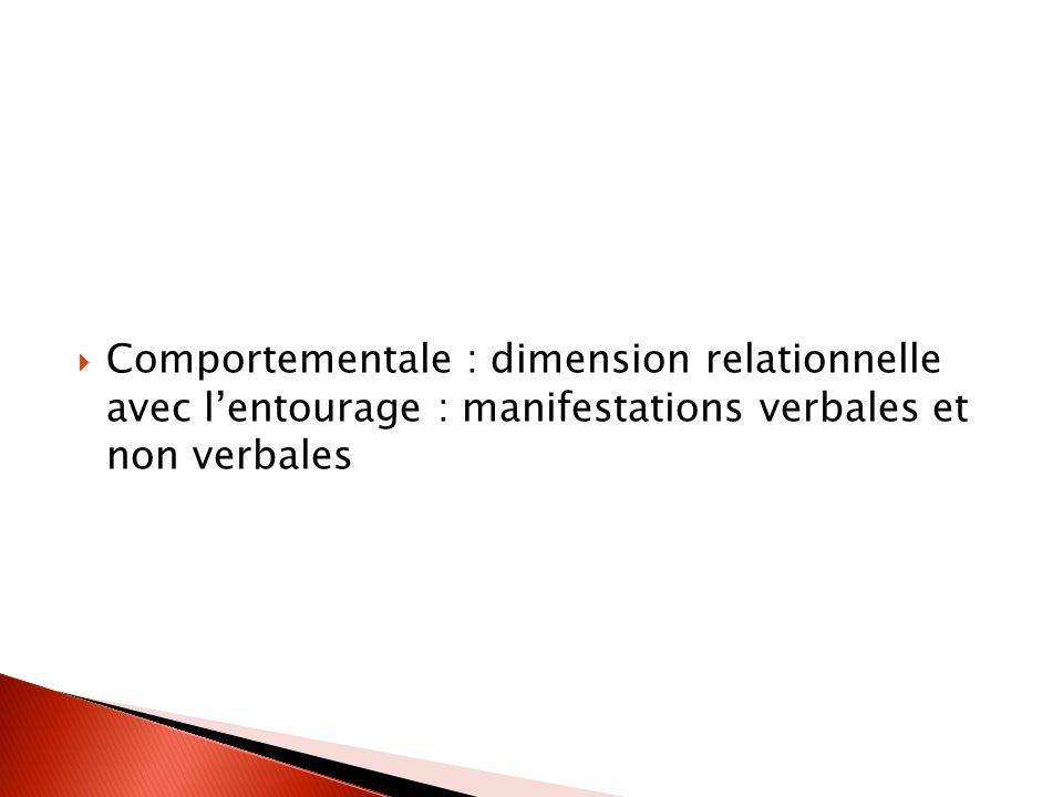 Comportementale : dimension relationnelle avec l'entourage : manifestations verbales et non verbales