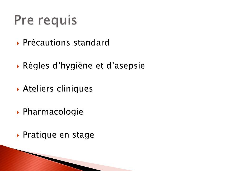 Pre requis Précautions standard Règles d'hygiène et d'asepsie