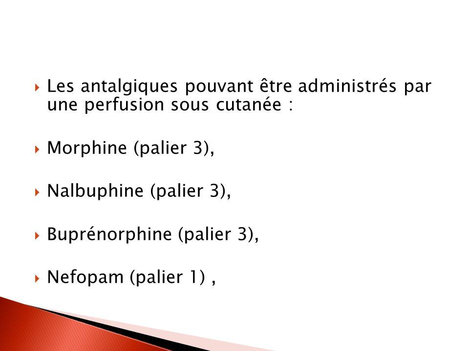 Les antalgiques pouvant être administrés par une perfusion sous cutanée :