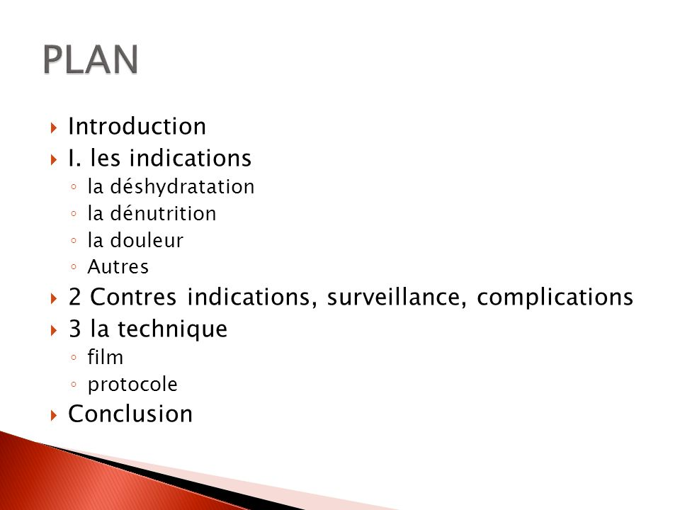 PLAN Introduction I. les indications