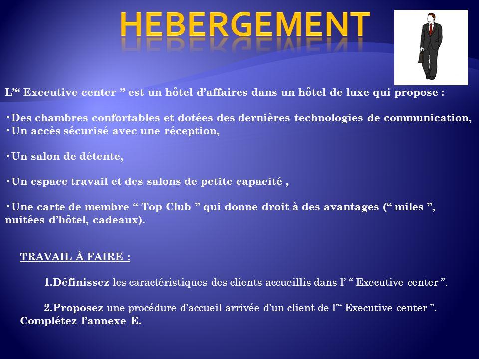 HEBERGEMENT L' Executive center est un hôtel d'affaires dans un hôtel de luxe qui propose :