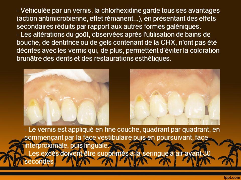 - Véhiculée par un vernis, la chlorhexidine garde tous ses avantages (action antimicrobienne, effet rémanent...), en présentant des effets secondaires réduits par rapport aux autres formes galéniques.