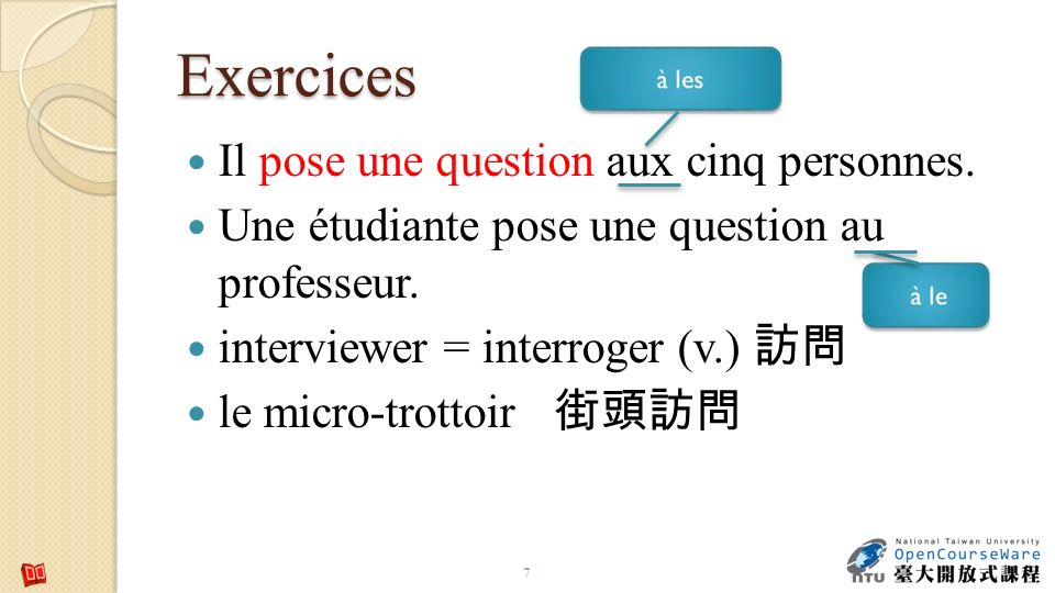 Exercices Il pose une question aux cinq personnes.