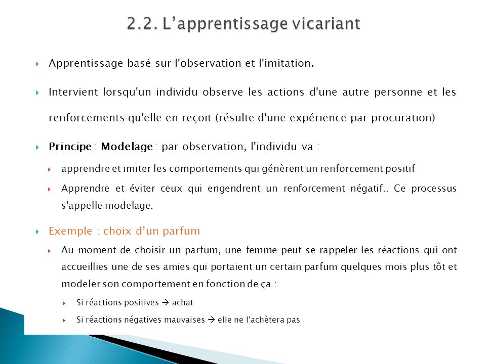 2.2. L'apprentissage vicariant