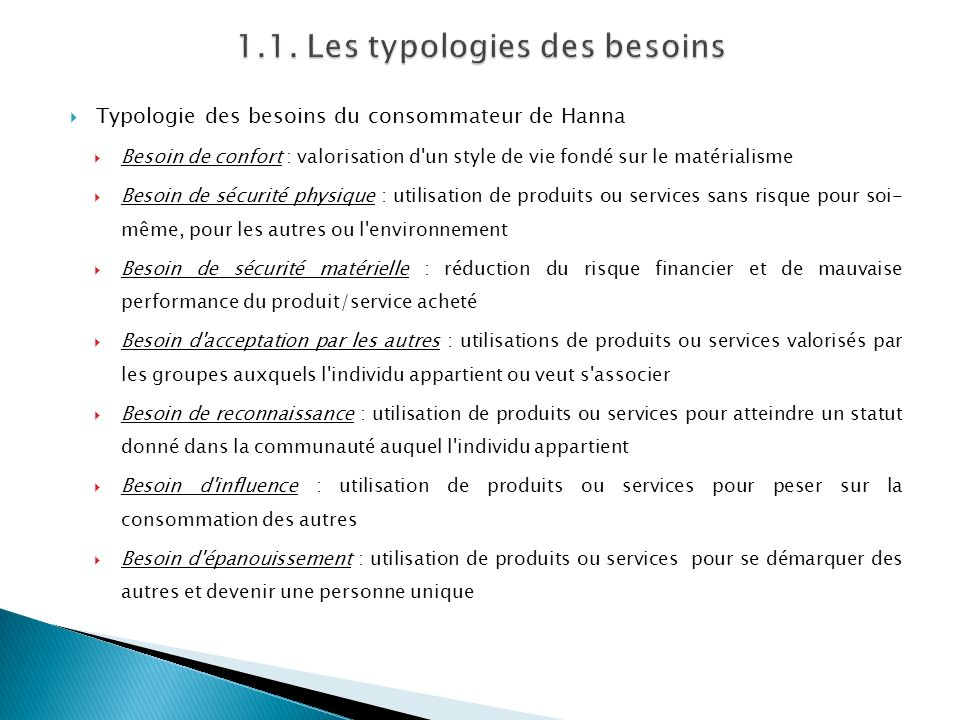 1.1. Les typologies des besoins