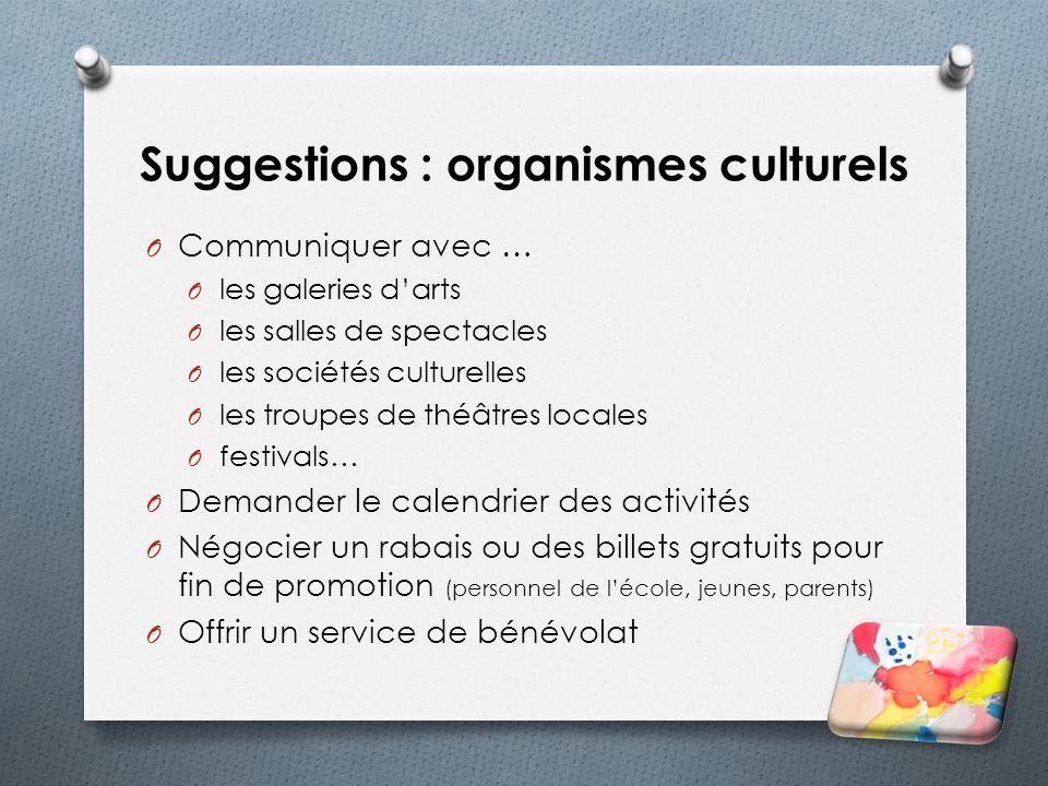 Suggestions : organismes culturels