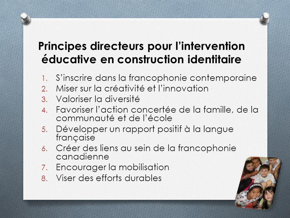Principes directeurs pour l'intervention éducative en construction identitaire
