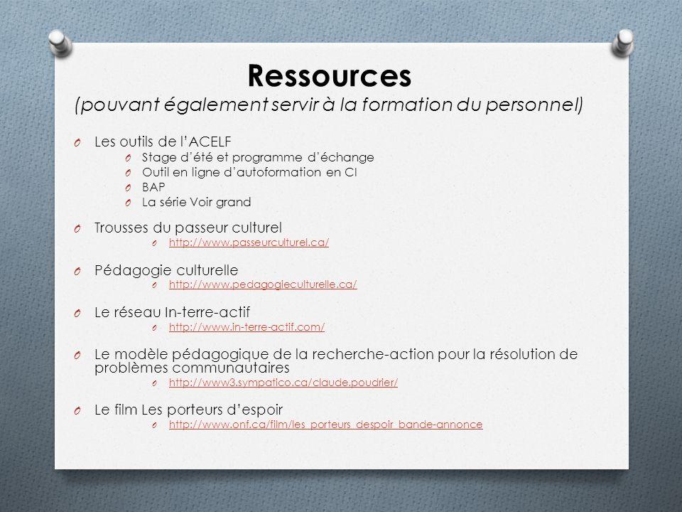 Ressources (pouvant également servir à la formation du personnel)