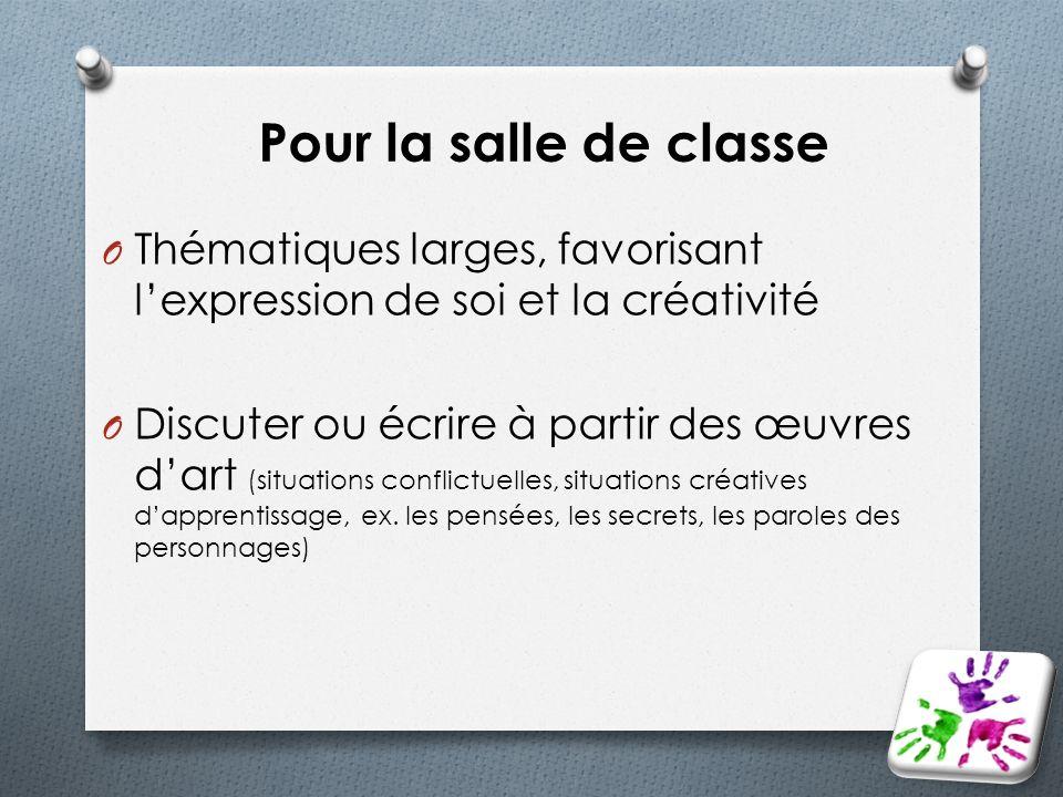 Pour la salle de classe Thématiques larges, favorisant l'expression de soi et la créativité.
