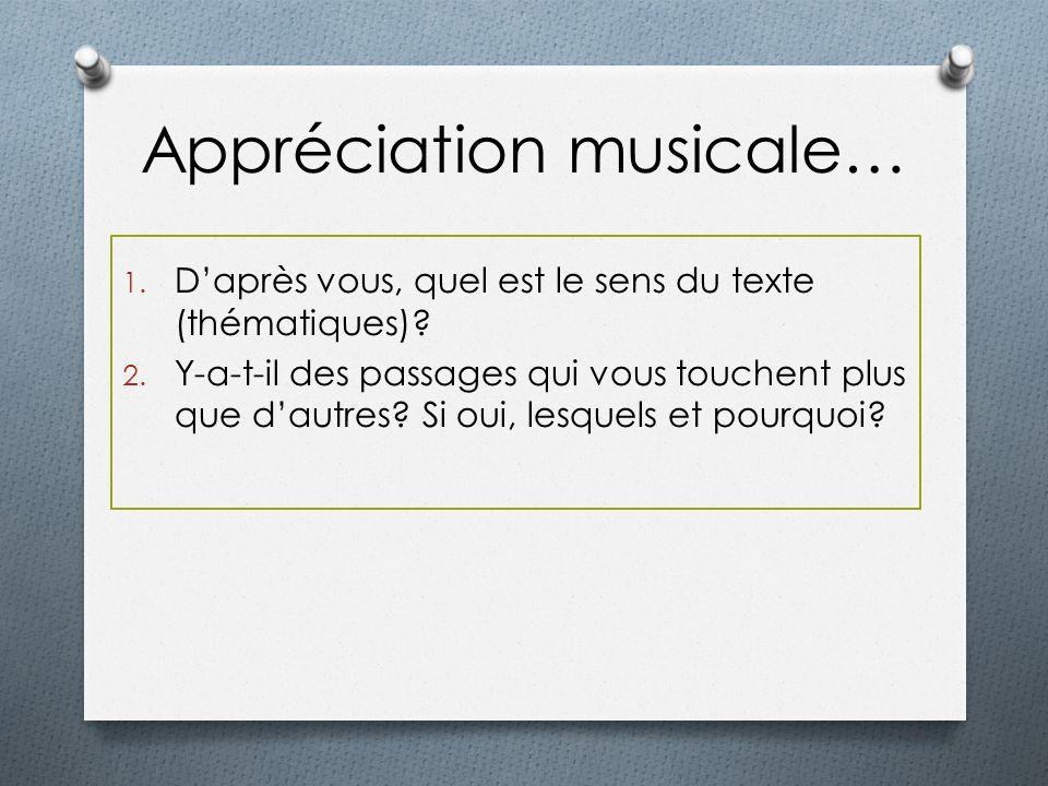Appréciation musicale…