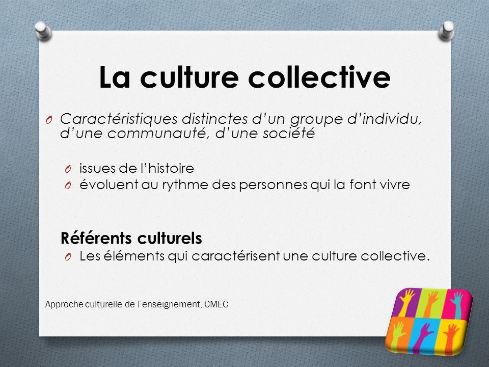 La culture collective Caractéristiques distinctes d'un groupe d'individu, d'une communauté, d'une société.