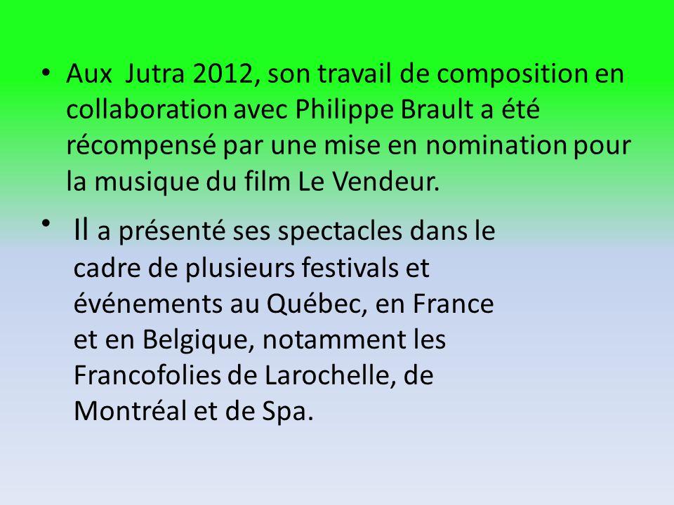 Aux Jutra 2012, son travail de composition en collaboration avec Philippe Brault a été récompensé par une mise en nomination pour la musique du film Le Vendeur.