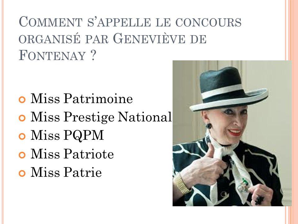 Comment s'appelle le concours organisé par Geneviève de Fontenay