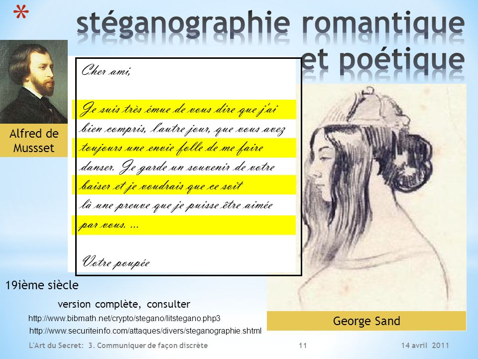 stéganographie romantique et poétique