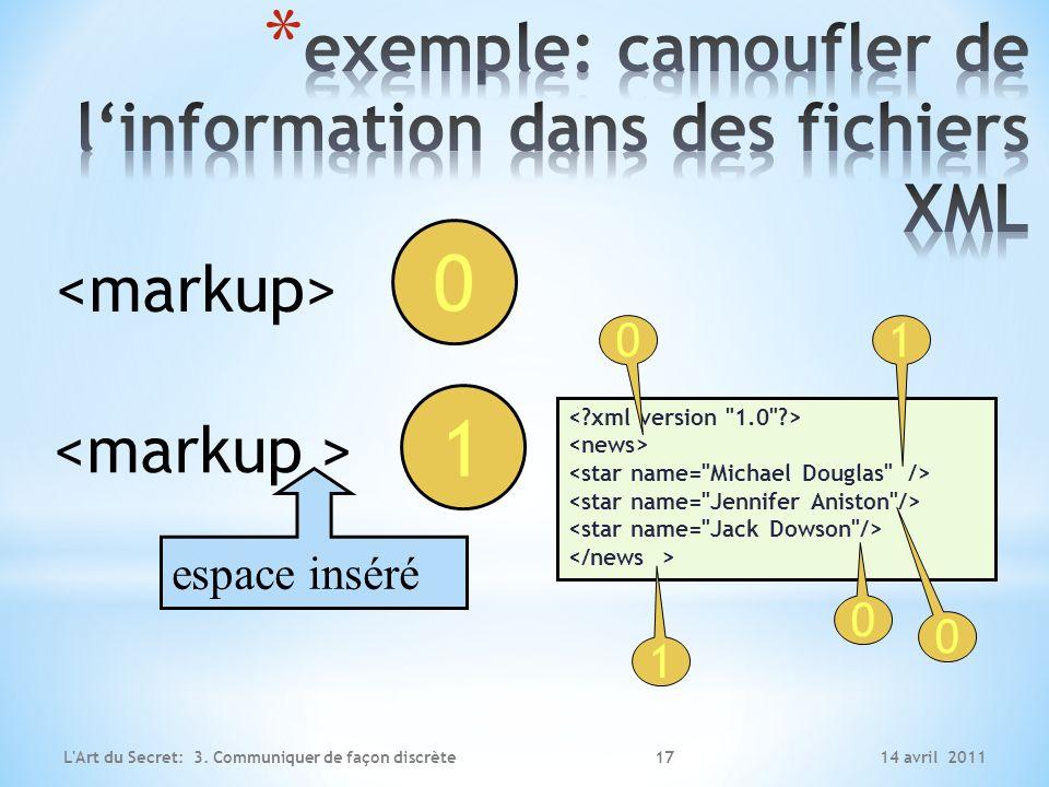 exemple: camoufler de l'information dans des fichiers XML