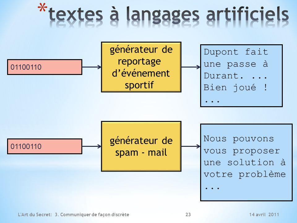 textes à langages artificiels