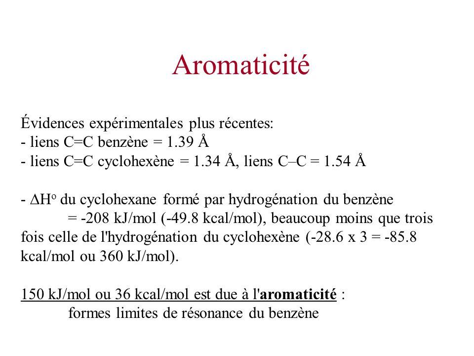 Aromaticité Évidences expérimentales plus récentes: