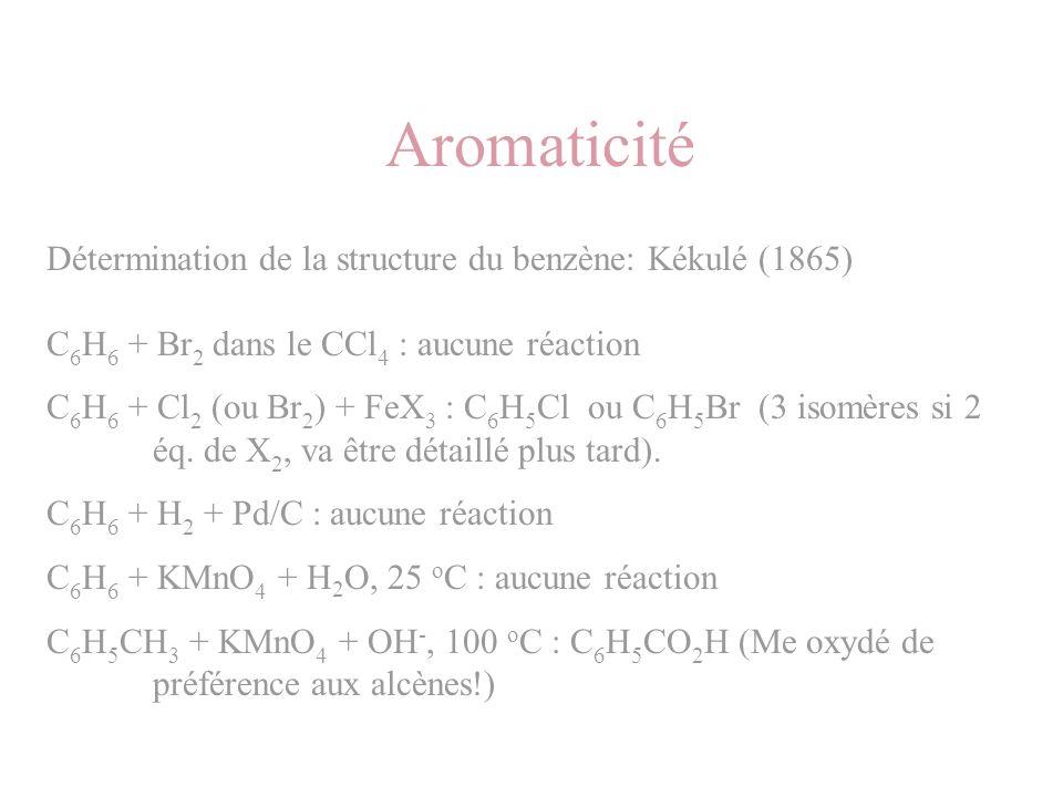 Aromaticité Détermination de la structure du benzène: Kékulé (1865)