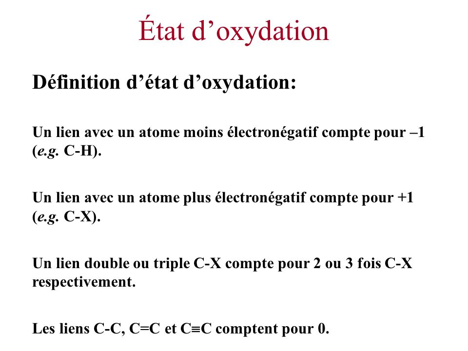 État d'oxydation Définition d'état d'oxydation: