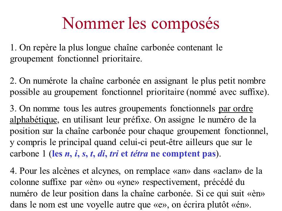 Nommer les composés 1. On repère la plus longue chaîne carbonée contenant le groupement fonctionnel prioritaire.