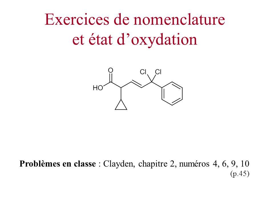Exercices de nomenclature et état d'oxydation