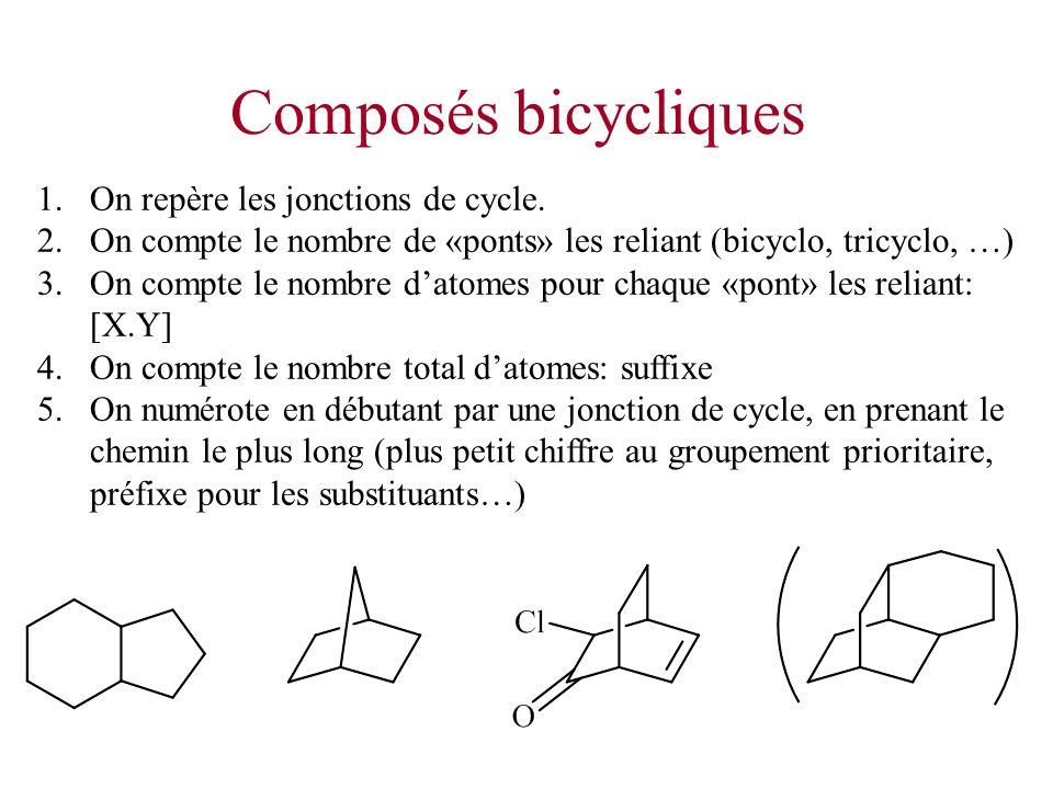 Composés bicycliques On repère les jonctions de cycle.