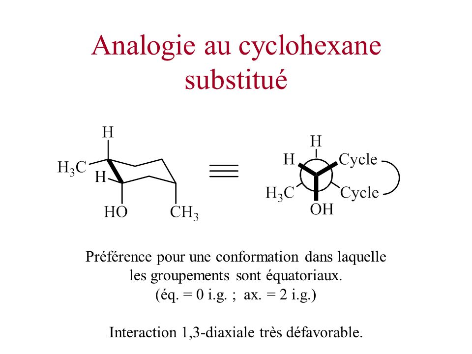Analogie au cyclohexane substitué