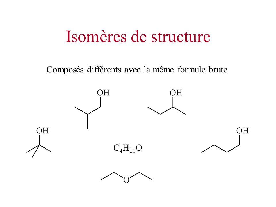 Isomères de structure Composés différents avec la même formule brute