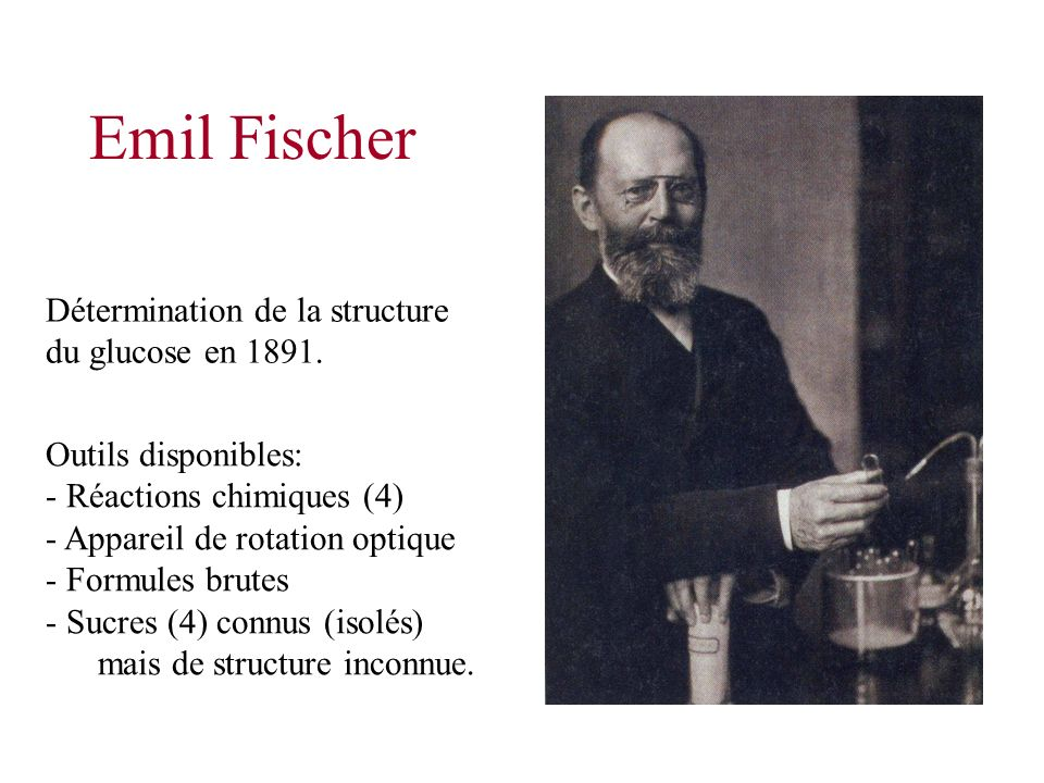 Emil Fischer Détermination de la structure du glucose en 1891.