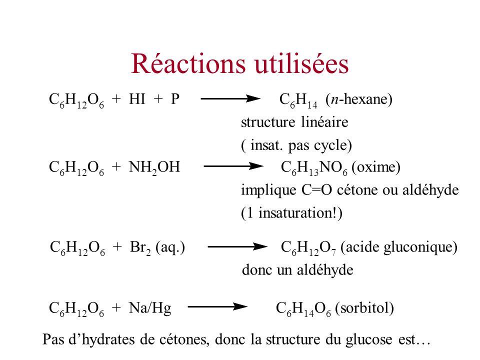 Réactions utilisées C6H12O6 + HI + P C6H14 (n-hexane)