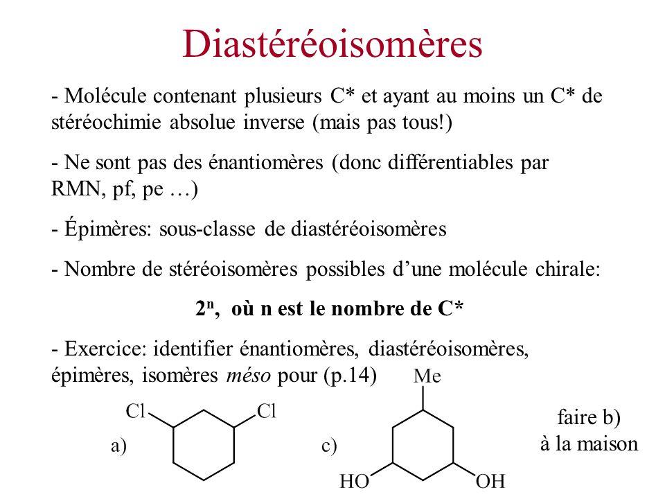 Diastéréoisomères - Molécule contenant plusieurs C* et ayant au moins un C* de stéréochimie absolue inverse (mais pas tous!)