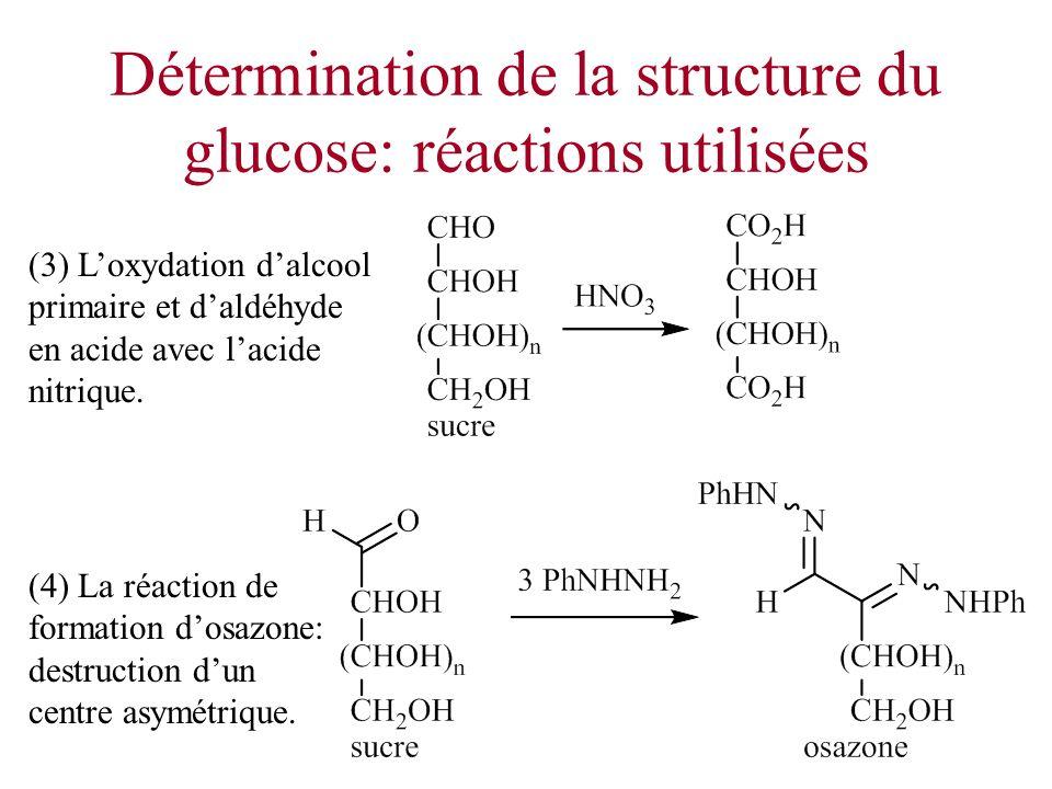 Détermination de la structure du glucose: réactions utilisées