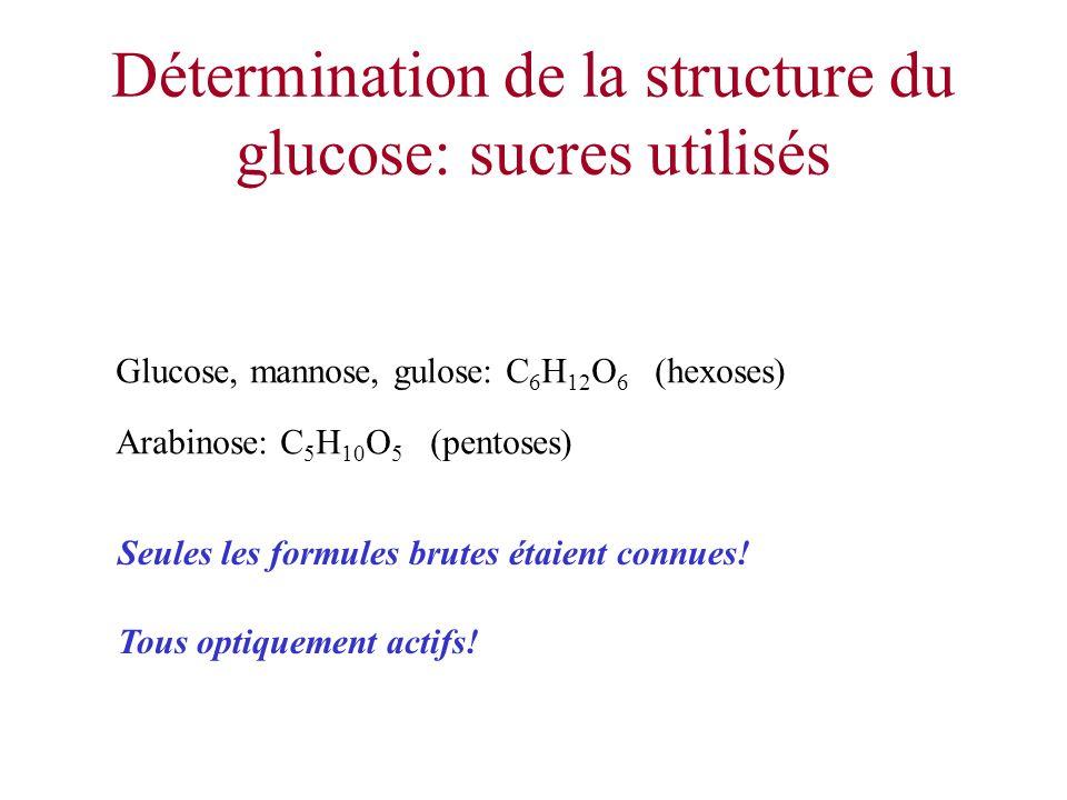 Détermination de la structure du glucose: sucres utilisés
