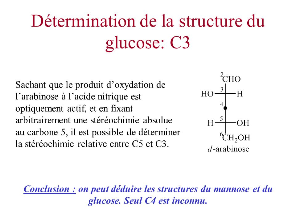 Détermination de la structure du glucose: C3