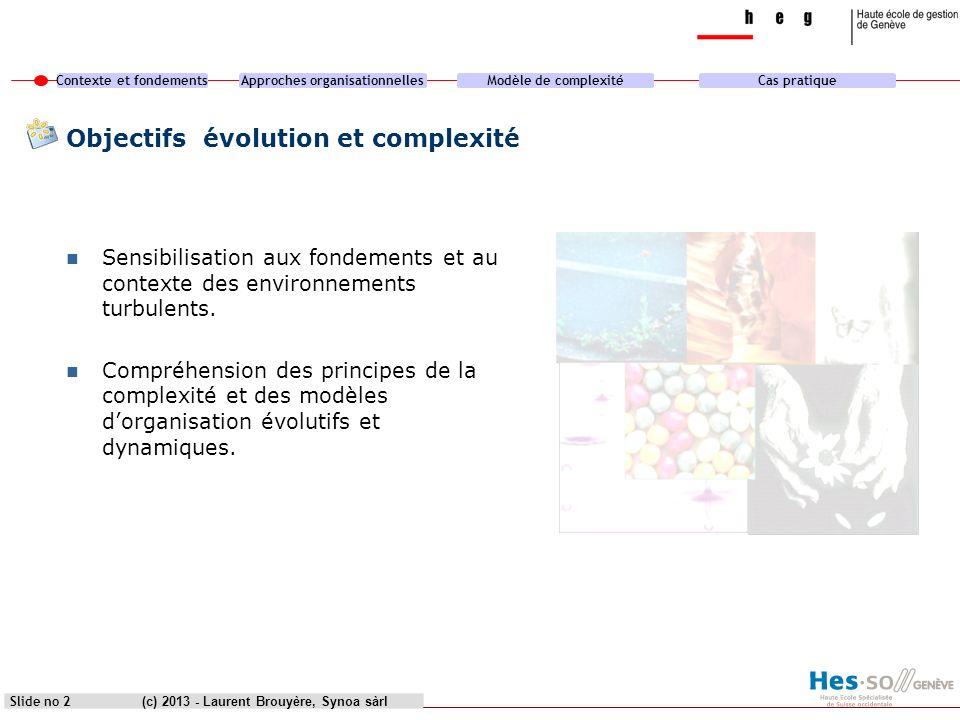 Objectifs évolution et complexité