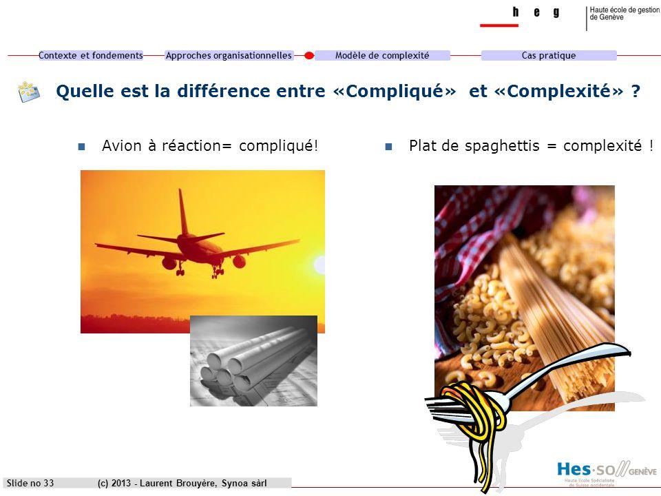 Quelle est la différence entre «Compliqué» et «Complexité»