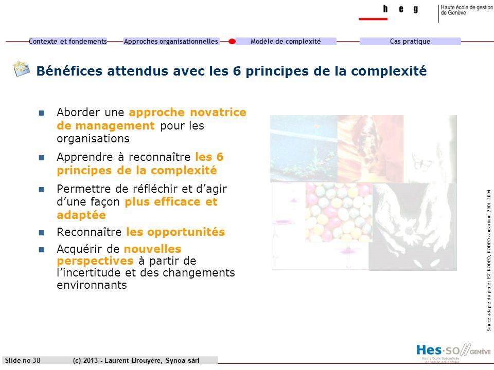 Bénéfices attendus avec les 6 principes de la complexité