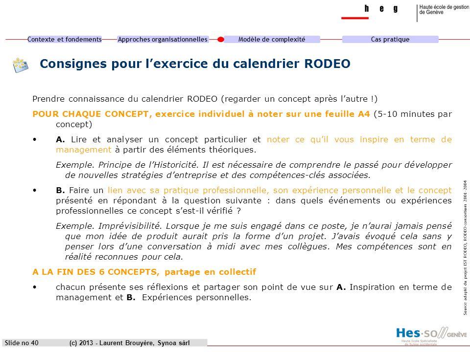 Consignes pour l'exercice du calendrier RODEO