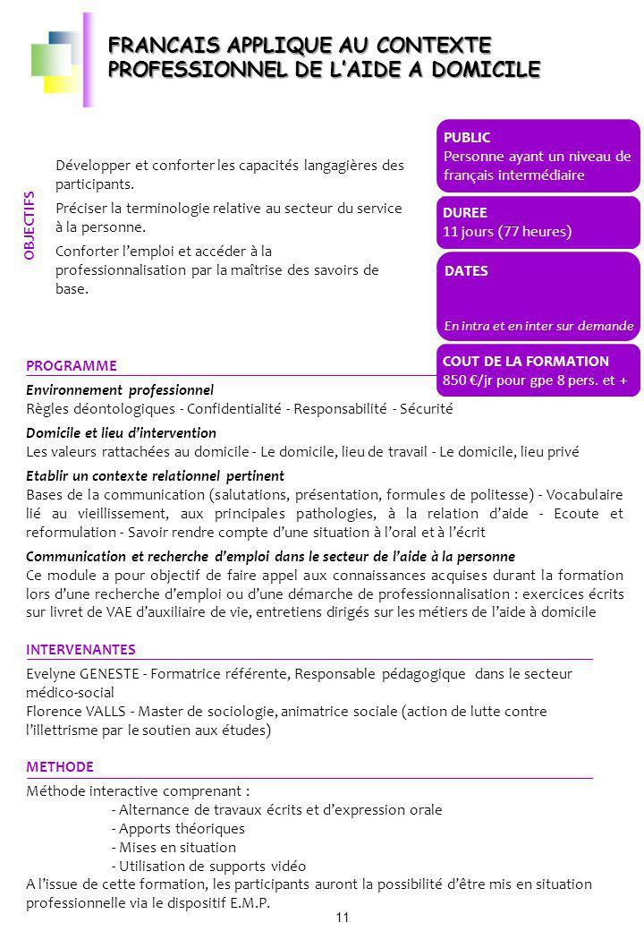 FRANCAIS APPLIQUE AU CONTEXTE PROFESSIONNEL DE L'AIDE A DOMICILE