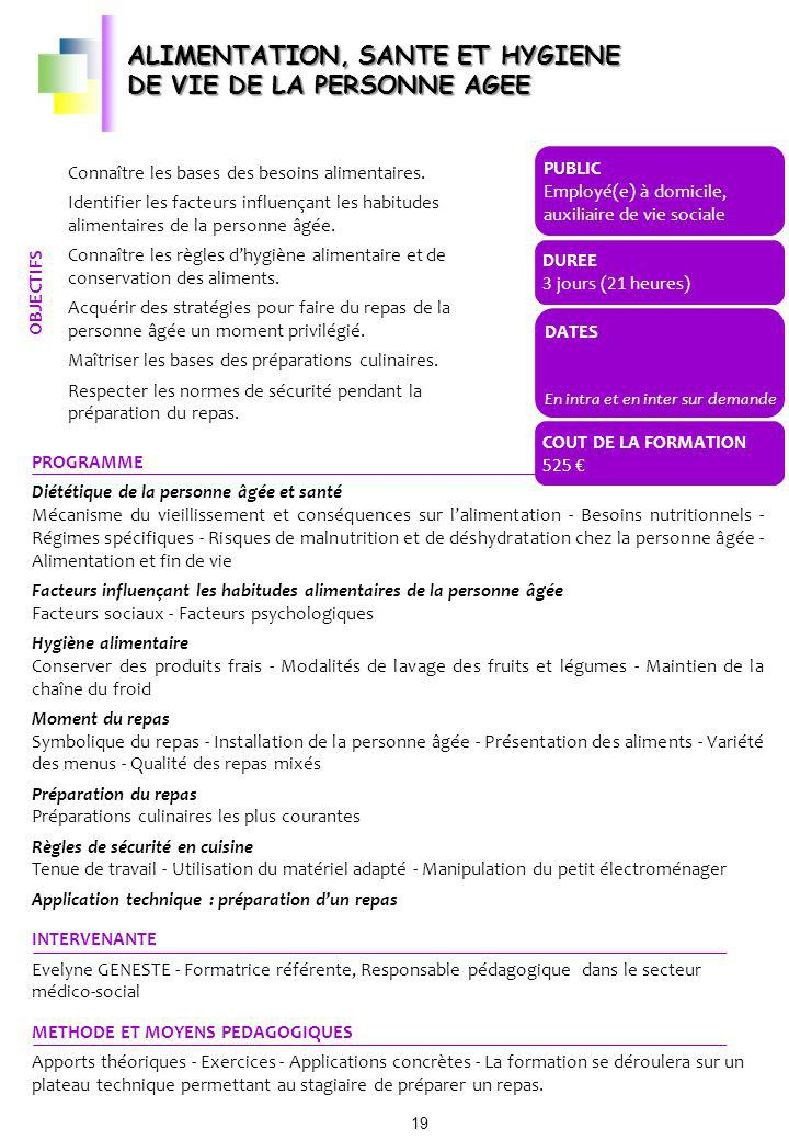 ALIMENTATION, SANTE ET HYGIENE DE VIE DE LA PERSONNE AGEE