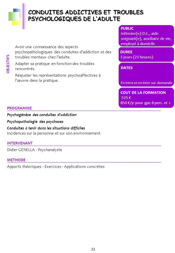 CONDUITES ADDICTIVES ET TROUBLES PSYCHOLOGIQUES DE L'ADULTE