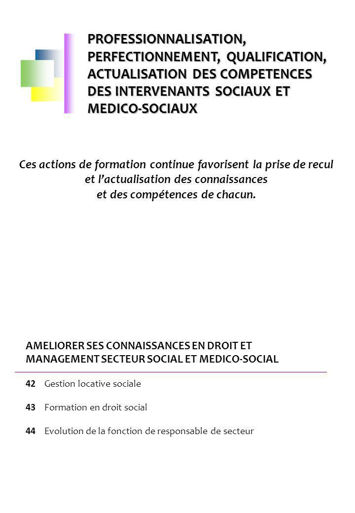 PROFESSIONNALISATION, PERFECTIONNEMENT, QUALIFICATION, ACTUALISATION DES COMPETENCES DES INTERVENANTS SOCIAUX ET MEDICO-SOCIAUX