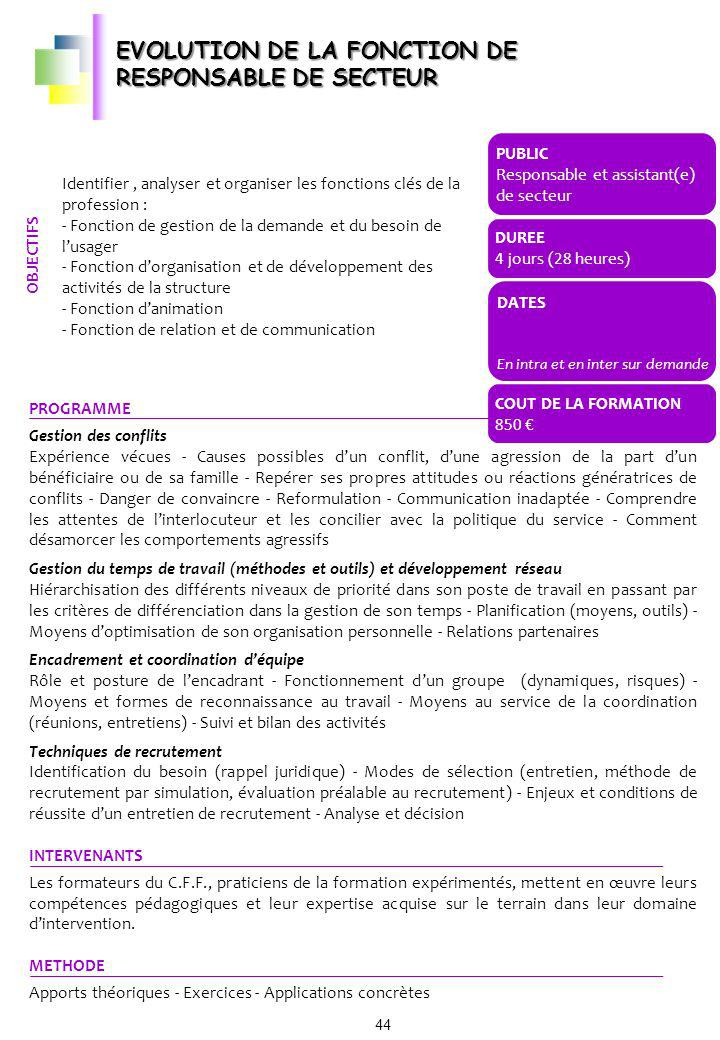 EVOLUTION DE LA FONCTION DE RESPONSABLE DE SECTEUR