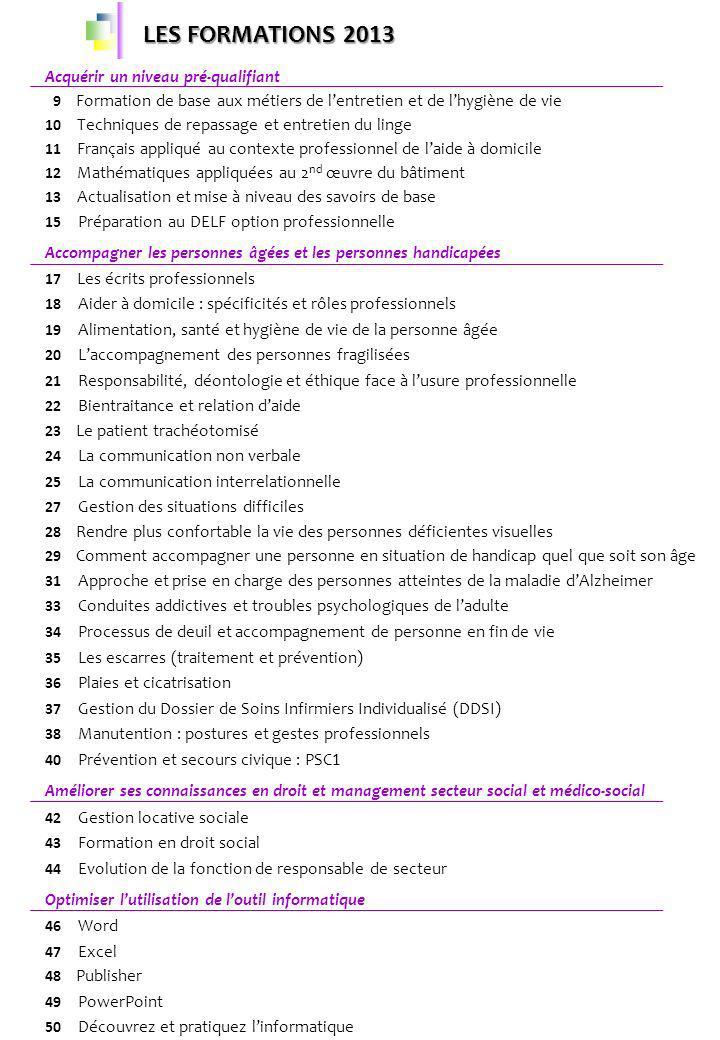 LES FORMATIONS 2013 Acquérir un niveau pré-qualifiant