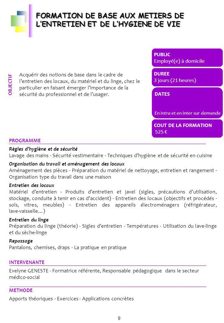 FORMATION DE BASE AUX METIERS DE L'ENTRETIEN ET DE L'HYGIENE DE VIE