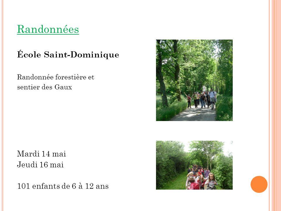 Randonnées École Saint-Dominique Mardi 14 mai Jeudi 16 mai