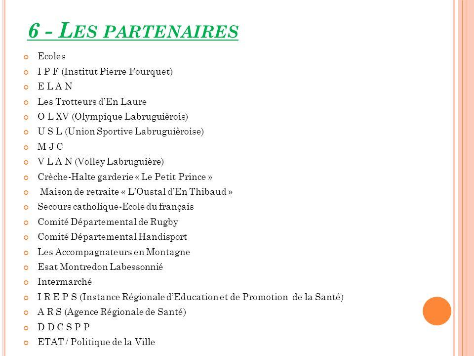 6 - Les partenaires Ecoles I P F (Institut Pierre Fourquet) E L A N