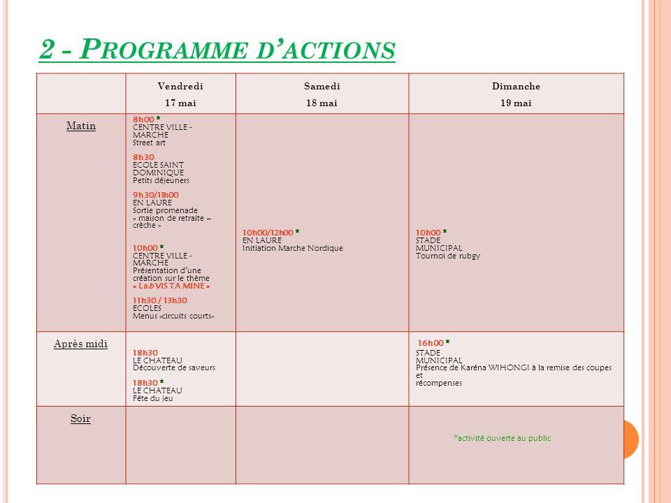 2 - Programme d'actions Matin Après midi Soir Vendredi 17 mai Samedi